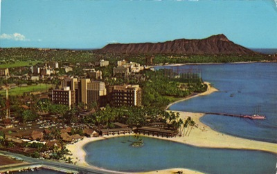 Kaiser's Hawaiian Village resort in the early 1960s. The pink on the ...